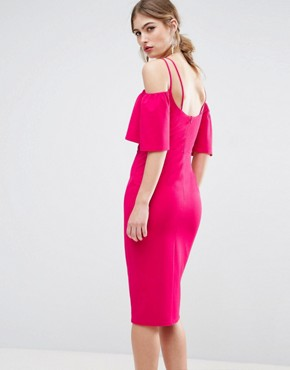 photo Twist Front Trumpet Sleeve Midi Dress by ASOS, color Hot Pink - Image 2