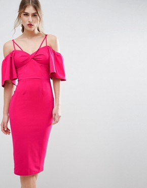 photo Twist Front Trumpet Sleeve Midi Dress by ASOS, color Hot Pink - Image 1
