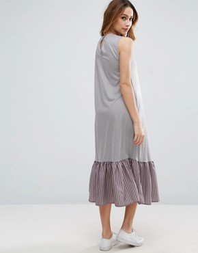 photo Midi Dress In Stripe with Drop Frill Hem by ASOS Maternity TALL, color Grey - Image 2