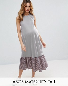 photo Midi Dress In Stripe with Drop Frill Hem by ASOS Maternity TALL, color Grey - Image 1