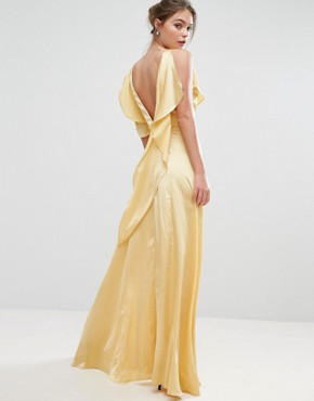 photo Ruffle Neck Satin Maxi Dress by True Violet, color Washed Yellow - Image 2