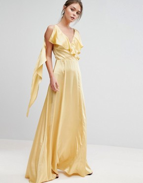 photo Ruffle Neck Satin Maxi Dress by True Violet, color Washed Yellow - Image 1