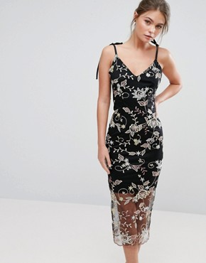 photo Embroidered Floral Midi Cami Dress by True Violet, color Black - Image 1