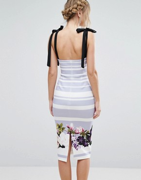 photo Bow Floral Detail Midi Dress by True Violet, color Violet Floral Stripe - Image 2