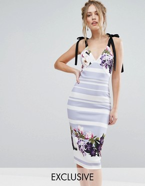 photo Bow Floral Detail Midi Dress by True Violet, color Violet Floral Stripe - Image 1