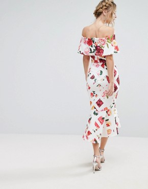 photo Grid Floral Midi Dress with Bardot Sleeve and Peplum Hem by True Violet, color Cross Hatch Floral - Image 2