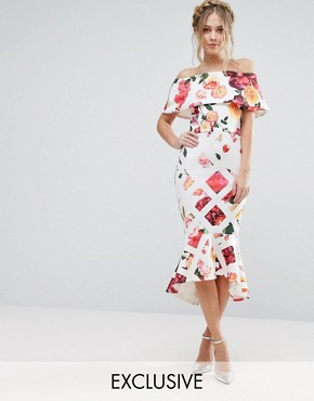photo Grid Floral Midi Dress with Bardot Sleeve and Peplum Hem by True Violet, color Cross Hatch Floral - Image 1