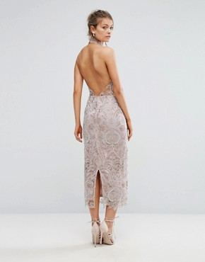 photo Keyhole Lace Midi Dress by True Violet, color Pink - Image 2