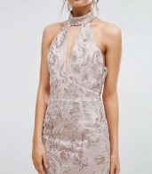 photo Keyhole Lace Midi Dress by True Violet, color Pink - Image 3