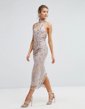 photo Keyhole Lace Midi Dress by True Violet, color Pink - Image 4