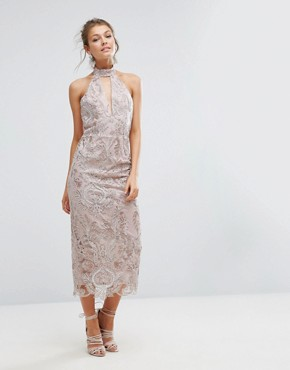 photo Keyhole Lace Midi Dress by True Violet, color Pink - Image 1