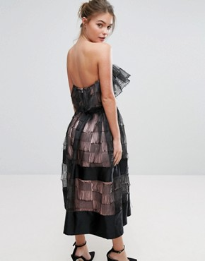 photo Ruffle 3D Texture Strapless Midi Dress by True Violet, color Black - Image 2