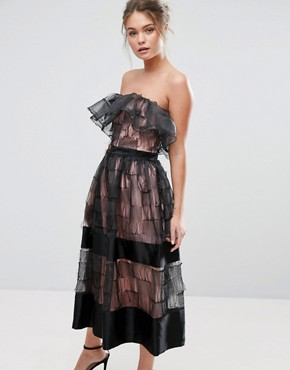photo Ruffle 3D Texture Strapless Midi Dress by True Violet, color Black - Image 1