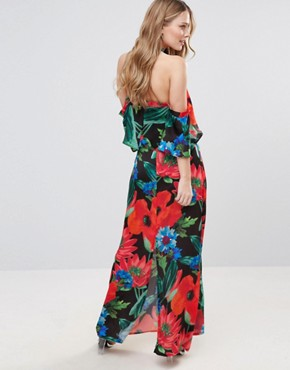 photo Dark Floral Halterneck Maxi with Ruffle by Every Cloud, color Dark Floral - Image 2