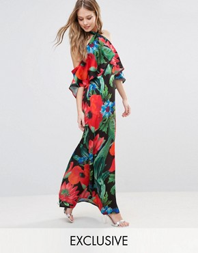 photo Dark Floral Halterneck Maxi with Ruffle by Every Cloud, color Dark Floral - Image 1