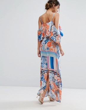 photo Multicoloured Floral Maxi Dress with Flutter Cold Shoulder Sleeve by Every Cloud, color  - Image 2