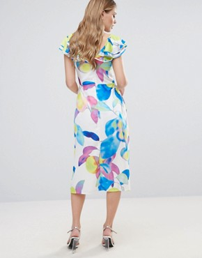 photo Electric Print Ruffle Midi Dress by Every Cloud, color Multi Electric Print - Image 2