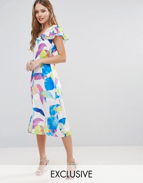 photo Electric Print Ruffle Midi Dress by Every Cloud, color Multi Electric Print - Image 1
