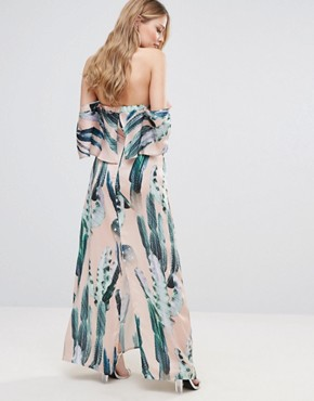 photo Cactus Print Halterneck Maxi with Ruffle by Every Cloud, color Cactus Print - Image 2