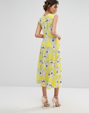 photo Graphic Floral Midi Dress by Every Cloud, color Yellow - Image 2