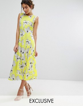 photo Graphic Floral Midi Dress by Every Cloud, color Yellow - Image 1