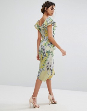 photo Floral Ruffle Midi Dress by Every Cloud, color Yellow Base Floral - Image 2