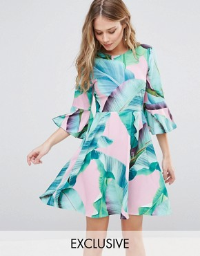 photo Palm Print Mini Skater Dress with Flared Sleeves by Every Cloud, color  - Image 1