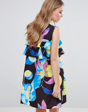photo Electric Print Mini Dress with Ruffle Detail by Every Cloud, color Dark Electric Print - Image 2