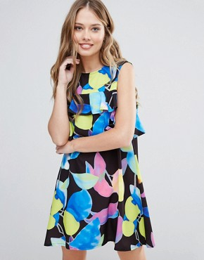 photo Electric Print Mini Dress with Ruffle Detail by Every Cloud, color Dark Electric Print - Image 1