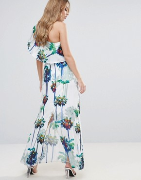 photo Hazey Palm Print One Shouder Maxi Dress by Every Cloud, color Hazey Palm Print - Image 2