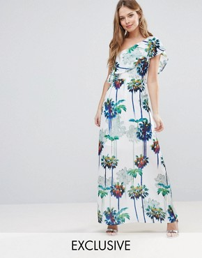 photo Hazey Palm Print One Shouder Maxi Dress by Every Cloud, color Hazey Palm Print - Image 1