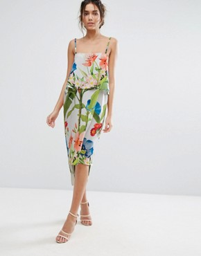 photo Palm Print Midi with Double Layer by Every Cloud, color Multi Palm Print - Image 1