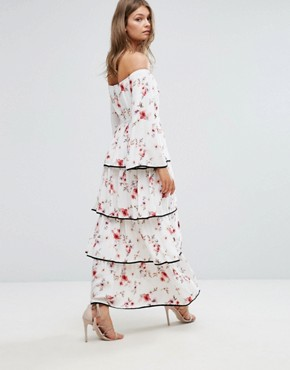 photo Floral Off The Shoulder Tiered Ruffle Maxi Dress by Foxiedox, color  - Image 2