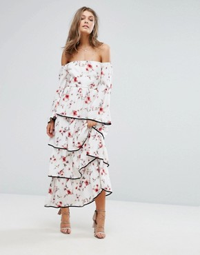photo Floral Off The Shoulder Tiered Ruffle Maxi Dress by Foxiedox, color  - Image 1