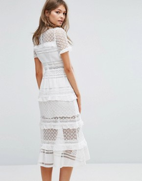 photo Premium Lace Panelled Midi Dress by Foxiedox, color White - Image 2