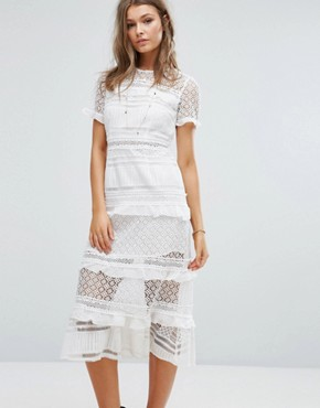 photo Premium Lace Panelled Midi Dress by Foxiedox, color White - Image 1