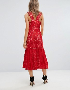 photo Bow Front Midi Lace Dress by Foxiedox, color Red - Image 2