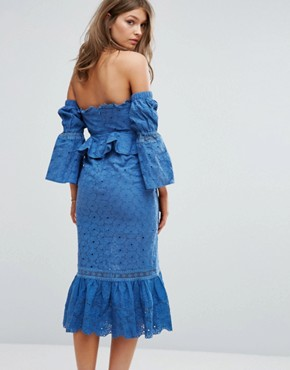 photo Off The Shoulder Midi Dress with Ruffle Details by Foxiedox, color Blue - Image 2