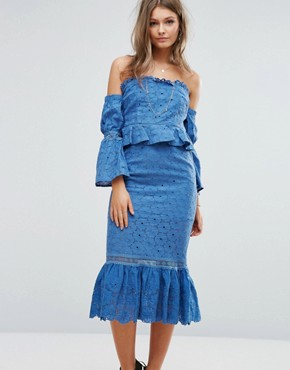 photo Off The Shoulder Midi Dress with Ruffle Details by Foxiedox, color Blue - Image 1