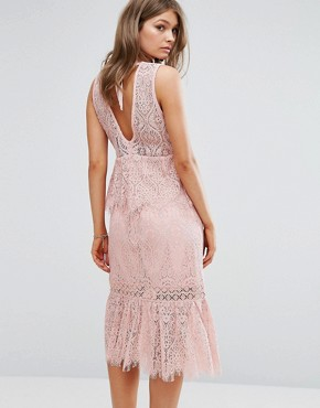 photo V Neck Lace Ruffle Midi Dress by Foxiedox, color Pink - Image 2