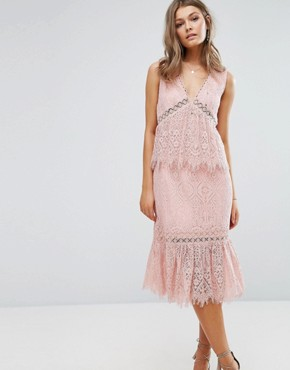 photo V Neck Lace Ruffle Midi Dress by Foxiedox, color Pink - Image 1
