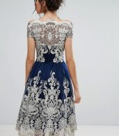 photo Metallic Lace Midi Prom Dress with Bardot Neck by Chi Chi London Premium, color Navy/Gold - Image 2