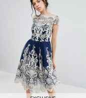 photo Metallic Lace Midi Prom Dress with Bardot Neck by Chi Chi London Premium, color Navy/Gold - Image 1
