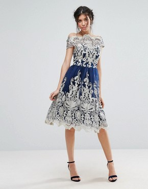 photo Metallic Lace Midi Prom Dress with Bardot Neck by Chi Chi London Premium, color Navy/Gold - Image 4