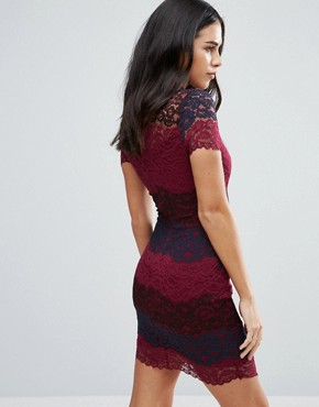 photo Lace Colourblock Pencil Dress by Jessica Wright, color Red - Image 2