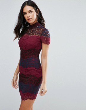 photo Lace Colourblock Pencil Dress by Jessica Wright, color Red - Image 1