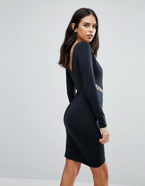 photo Long Sleeve Wrap Dress by Jessica Wright, color Black - Image 2