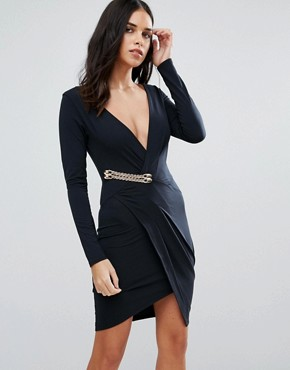 photo Long Sleeve Wrap Dress by Jessica Wright, color Black - Image 1