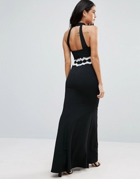 photo Halterneck Maxi Dress with Contrast Waist by Jessica Wright, color Black - Image 2