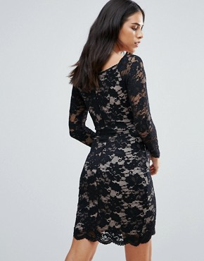 photo Long Sleeve Lace Dress with Asymmetric Hem by Jessica Wright, color Black - Image 2